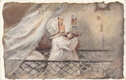 RUSSISCHE KÜNSTLERKARTE, Kleines Mädchen Im Gitterbett Prostet Auf's Neue Jahr Mit Puppe - Künstlerkarten