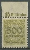 Deutsches Reich 1923 Korbdeckel Platten-Oberrand 324 AP OR A Postfrisch - Deutschland