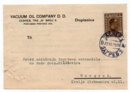 1929 YUGOSLAVIA, CROATIA, ZAGREB, VACUUM OIL COMPANY, CORRESPONDENCE CARD, SENT TO BELGRADE - 1919-1929 Regno Dei Serbi, Croati E Sloveni
