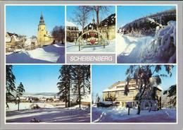 Scheibenberg (Erzgebirge) Kirche, Schwibbogen, Orgelpfeifen, Berggasthof 1989 - Scheibenberg