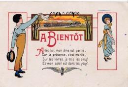 """CPA : Série Pour Ceux Qu'on Oublie Pas Par E Drot Jeune Fille Garcon  Train  """"A Bientot"""" 1922 Ed SID - Autres Illustrateurs"""