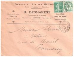 FRESNES En WOEVRE Meuse Lettre Entête Garage Mécanique Citroën Ford Michelin 10c Semeuse Vert 5c Blanc Yv111 159 Ob 1928 - Covers & Documents