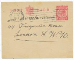 Plain 1924 Postcard, Pre-printed Stamp, To Mrs. T. Monck-Mason, 44 Tregunter Rd - England