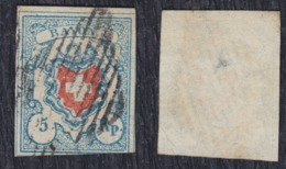 Switzerland 1851 Definitive In Changed Colors, Value 5 Rp, Used (o) Michel 9 II - 1843-1852 Federal & Cantonal Stamps