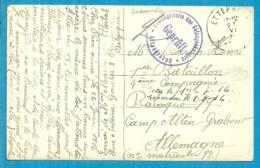 Kaart Stempel ETTERBEEK 27/6/16 Naar Camp Altengrabow , Stempel GEPRUFT - WW I