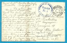 Kaart Stempel BRUXELLES 6/10/16 Naar Camp Altengrabow , Stempel GEPRUFT - WW I
