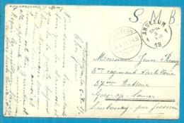 Kaart (S.m.) Stempel ANGLEUR (19Links) Met Als Aankomst Duitse Brugstempel JESSEREN Op 6/8/19 - Postmark Collection