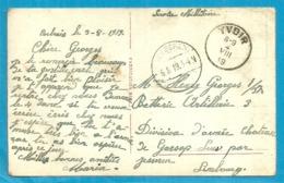 Kaart (S.m.) Stempel YVOIR Met Als Aankomst Duitse Brugstempel JESSEREN Op 6/8/19 - Postmark Collection