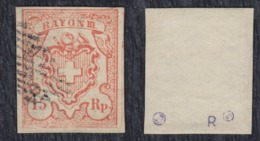 Switzerland 1852 Definitive With Inscription RAYON III - Small Value 15 Rp, Used (o) Michel 10 - 1843-1852 Federal & Cantonal Stamps