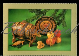 9-404 CZECHOSLOVAKIA 1976  Wooden Cask For Wine, Wooden Plate Christmas Card - Ansichtskarten