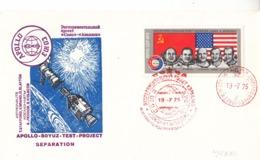 Russia 1975 USA Apollo And USSR Soyuz Spacecraft Program Commemorative Cover - Covers & Documents