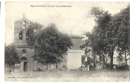 31 AURIBAIL EGLISE ET CHATEAU 1905 CPA 2 SCANS - France