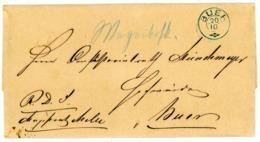 Seltener Postkutschenbrief (hds. Wagenbriefkast.) Dienstsacge Mit Klarem Zier K 2 Nachverwendet Aus 1869 - Norddeutscher Postbezirk