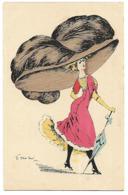 DESSIN ILLUSTRATEUR MOUTON 1903 MODE FEMME A GRAND CHAPEAU ET OMBRELLE CPA 2 SCANS - Fashion