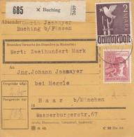 BiZone Paketkarte 1948: Buching B. Füssen Nach Haar, Wertkarte - Zone AAS