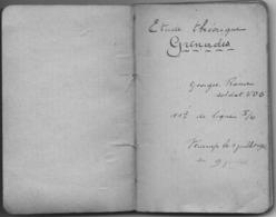 """14-18 UNIQUE - Carnet Manuscrit D'Etude Théorique """"Grenades"""" Du Sdt Georges Rome D'Aywaille - 1916 - 1914-18"""