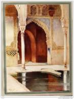"""Vignal  """"Portes Des Ambassadeurs à L'Alhambra""""  -  Alter Farbdruck Von 1912 - Stampe"""