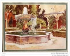 "Vignal  ""Ovar Des Cypres à L'Alhambra""  - Planche Original En Couleur - Alter Farbdruck Von 1912 - Stampe"