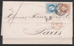 """Autriche - L. Datée 27 Juin 1873 De Vienne Affr. 25kr Càd LANDSKRONGASSE /27.6.1873/ WIEN Pour PARIS - Griffe """"P.D."""" Càd - 1850-1918 Impero"""