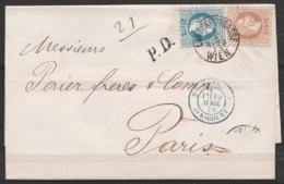 """Autriche - L. Datée 7 Avril 1873 De Vienne Affr. 25kr Càd """"LANDSKRONGASSE /7.4.1873/ WIEN"""" Pour PARIS - Griffe """"P.D."""" Cà - 1850-1918 Impero"""