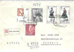 CARTA CERTIFICADA   RONDA   A SUECIA 1967 - 1931-Hoy: 2ª República - ... Juan Carlos I