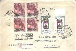 CARTA CERTIFICADA   RONDA   A  SOLNA  SUECIA 1967 - 1931-Hoy: 2ª República - ... Juan Carlos I
