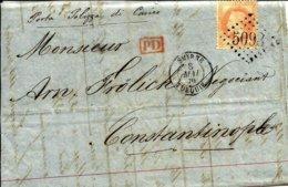 Sur Napoleon 40C Gros Chiffre  5098 Obl. SMYRNE TURQUIE - 1870 - - Levant (1885-1946)