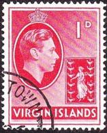 BRITISH VIRGIN ISLANDS 1938 KGVI 1d ScarletSG111 FU - Britse Maagdeneilanden