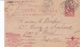 Carte Mouchon Retouché 10 C Rouge D3 Oblitérée  Repiquage La Publicité Postale Série 143 Cannes - Entiers Postaux