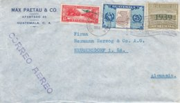 Guatemala - Lettre De 1939 - Oblit Correos De Guatemala - Exp Vers Neugersdorf - Rio Dukce - Carte Du Guatemala - Guatemala