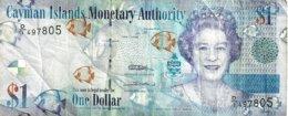 CAYMAN ISLANDS $1 BLUE WOMAN QEII FRONT ROCK BACK ND(2000s) F+ P.? READ DESCRIPTION !! - Isole Caiman