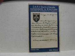 RYBNIK  ---ALTA SLESIA  -- POLONIA -- NATALE 1921 -AUGURI DI S.A.R. IL DUCA  D'AOSTA  -- 9-6-22 - Militaria