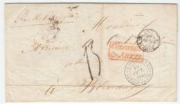 Guyane 'CAYENNE GUYANE FRANCAISE' Lettre LAC 1853 'COLONIES Art. 13' En Rouge Via PARIS Pour BORDEAUX (s9) - Storia Postale