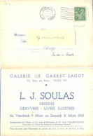TYPE IRIS 80 C. Vert-jaune TIMBRE SEUL Sur CP COMMERCIALE GALERIE LE GARREC-SAGOT PARIX-VI - FLIER PARIS-110 -7.III 1945 - Marcophilie (Lettres)