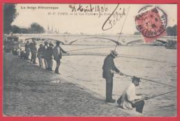 CPA-75-PARIS 1900- Les Pêcheurs Au Pont De L'ALMA- Animation -TOP *2 SCANS - France