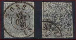 Nr. 22 (2x) Gestempeld O.a. MONS En Met Redelijke Randen (zie Scan) ! Inzet Aan 5 € ! - 1866-1867 Petit Lion (Kleiner Löwe)