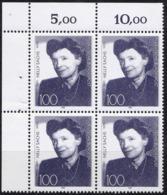 """BRD, 1991 Nr. 1575 **,  Viererblock Mit Eckrand Oben Links, """"Nelly Sachs"""" - Nuovi"""