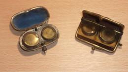 Lot De 2 Porte-Louis D'or : Métal Et Porte Monnaie En Cuir Pour 10 Francs Et 20 Francs En Or - Material