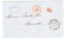 Inde Française India 'BUREAU DE PONDICHERY' Lettre LAC 1861 PD 'COLONIES FRA. V. SUEZ' En Rouge Pour Marseille (s13) - Postmark Collection (Covers)