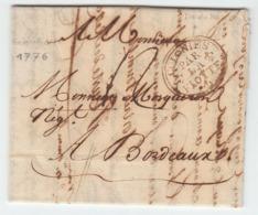 Martinique St. Pierre Lettre LAC 1776 'COLONIES PAR LA FLOTTE' Ile De Re Pour Bordeaux (s14) - Storia Postale
