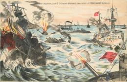 LA FLOTTE ANGLAISE ,coule 3 Croiseurs Allemands Dans La Baie D'Héligoland, Carte Illustrée. - Guerre