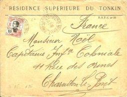 Sur Lettre De La RESIDENCE SUPERIEURE DU TONKIN ,cachet De PHU-LANG-THUONG -Au Verso 2 Ambulants  - 1906 - - Indochine (1889-1945)