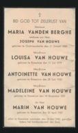 SLACHTOFFER WWII BOMBARDEMENT ROESELARE 16 MEI 1940 - FAMILIE VANDEN BERGHE EN HOUWE - ZIE DOODSPRENTJE - Décès