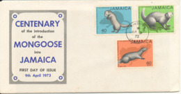 Jamaica FDC 9-4-1973 Centenary Of The Introduction Of The Mongoose Into Jamaica With Cachet - Jamaica (1962-...)