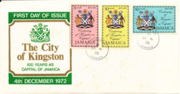 Jamaica FDC 4-12-1972 The City Of Kingston Complete Set Of 3 With Cachet - Jamaica (1962-...)