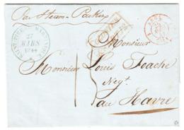 Martinique 'ST. PIERRE MARTINIQUE' Lettre LAC 1844 'COLONIES ART 12' 'ANGL. CALAIS' En Rouge Via London à HAVRE (s19) - Postmark Collection (Covers)