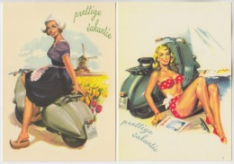 TWO POSTCARDS - WOMAN WITH VESPA SCOOTER - Cartes Postales