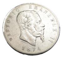 5 Lires - Italie - Vitorio Emmanuel II - 1874 - Argent - TB + - - 1861-1946 : Kingdom