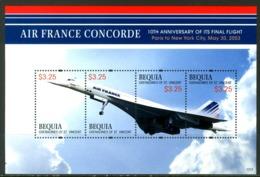 BEQUIA GRENADINES OF ST. VINCENT 2013** - Air France Concorde - Block Di 4 Val. MNH, Come Da Scansione. - Aerei