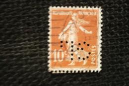 Perfin Lochung France Roulette Semeuse 10c N°138 Perforé GL80 - France